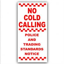 1 x No Cold Callers-Under DOOR BELL,Salesman Calling Warning Sticker-50x87mm-Small External-Sign
